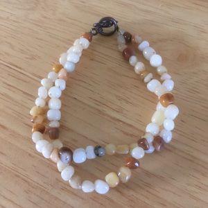 Double strand yellow jade bracelet